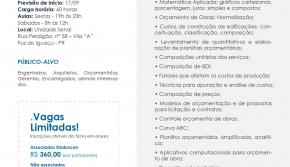 Sinduscon Paraná Oeste lança o Curso de Orçamento de Obras em Foz do Iguaçu