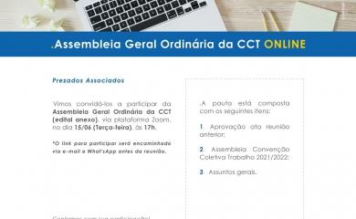 Assembléia Geral Ordinária CCT será realizada no próximo dia 15/06